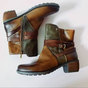 Pikolinos Green + Brown Leather Buckle Ankle Boots